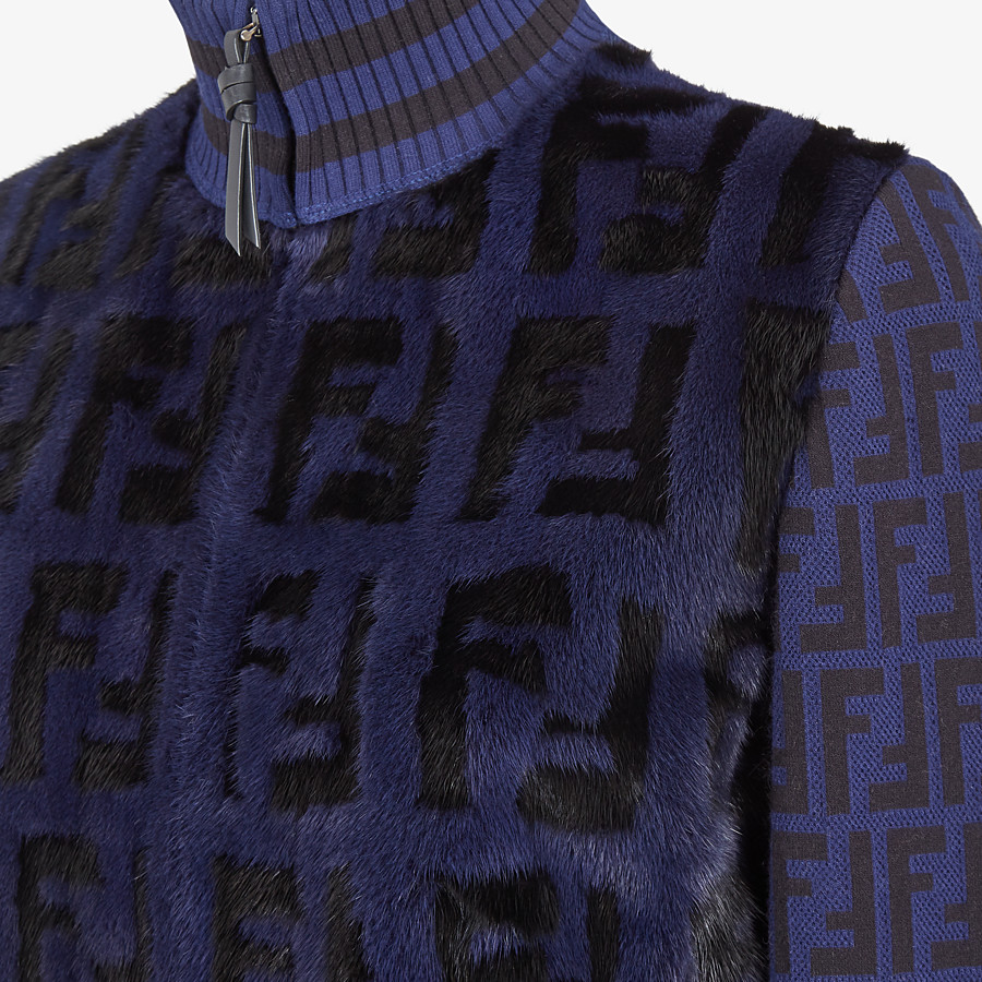 FENDI BOMBER - Knit and inlaid mink fur bomber jacket - view 3 detail