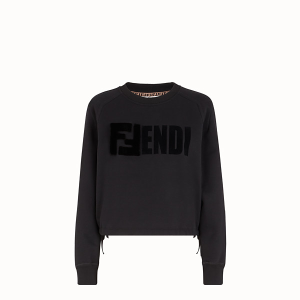 FENDI SWEATSHIRT - Black jersey sweatshirt - view 1 small thumbnail