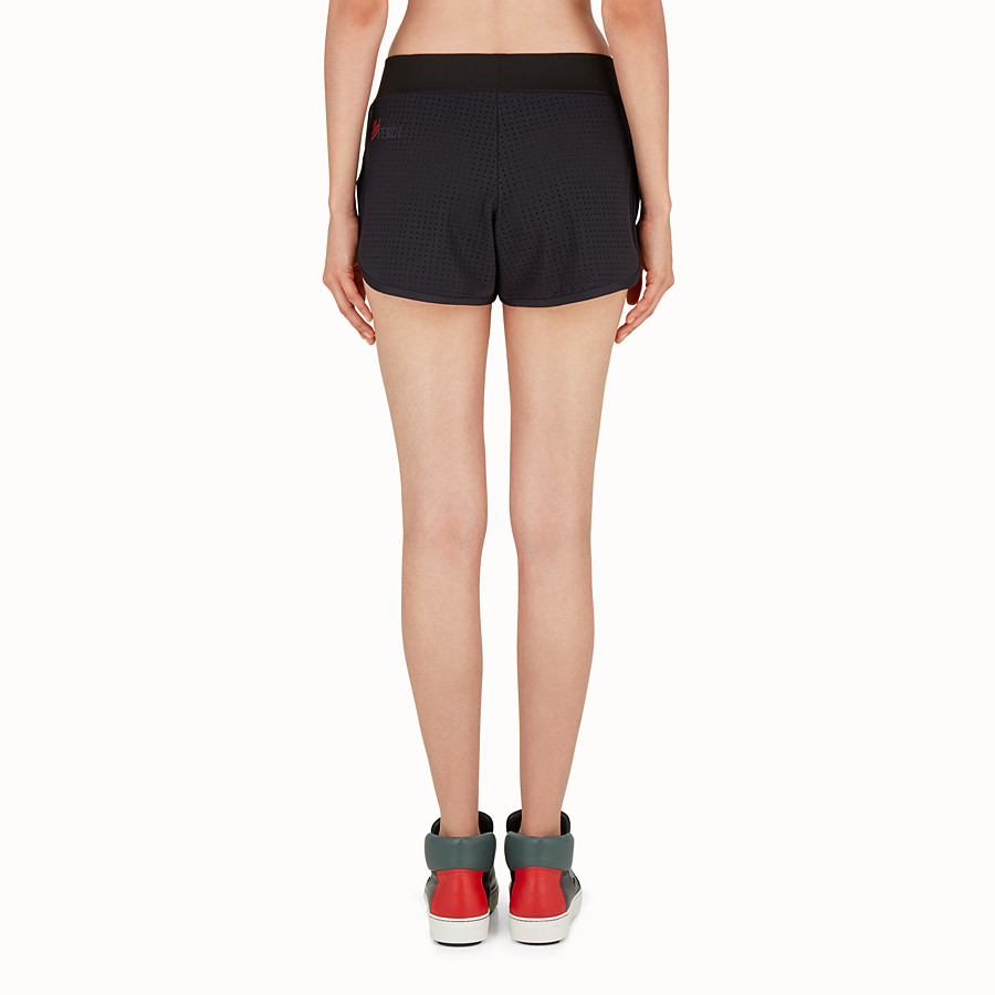 FENDI SHORTS - Shorts in black openwork fabric - view 2 detail