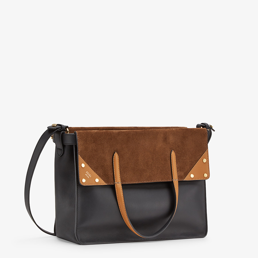 FENDI FENDI FLIP LARGE - Multicolor leather and suede bag - view 4 detail