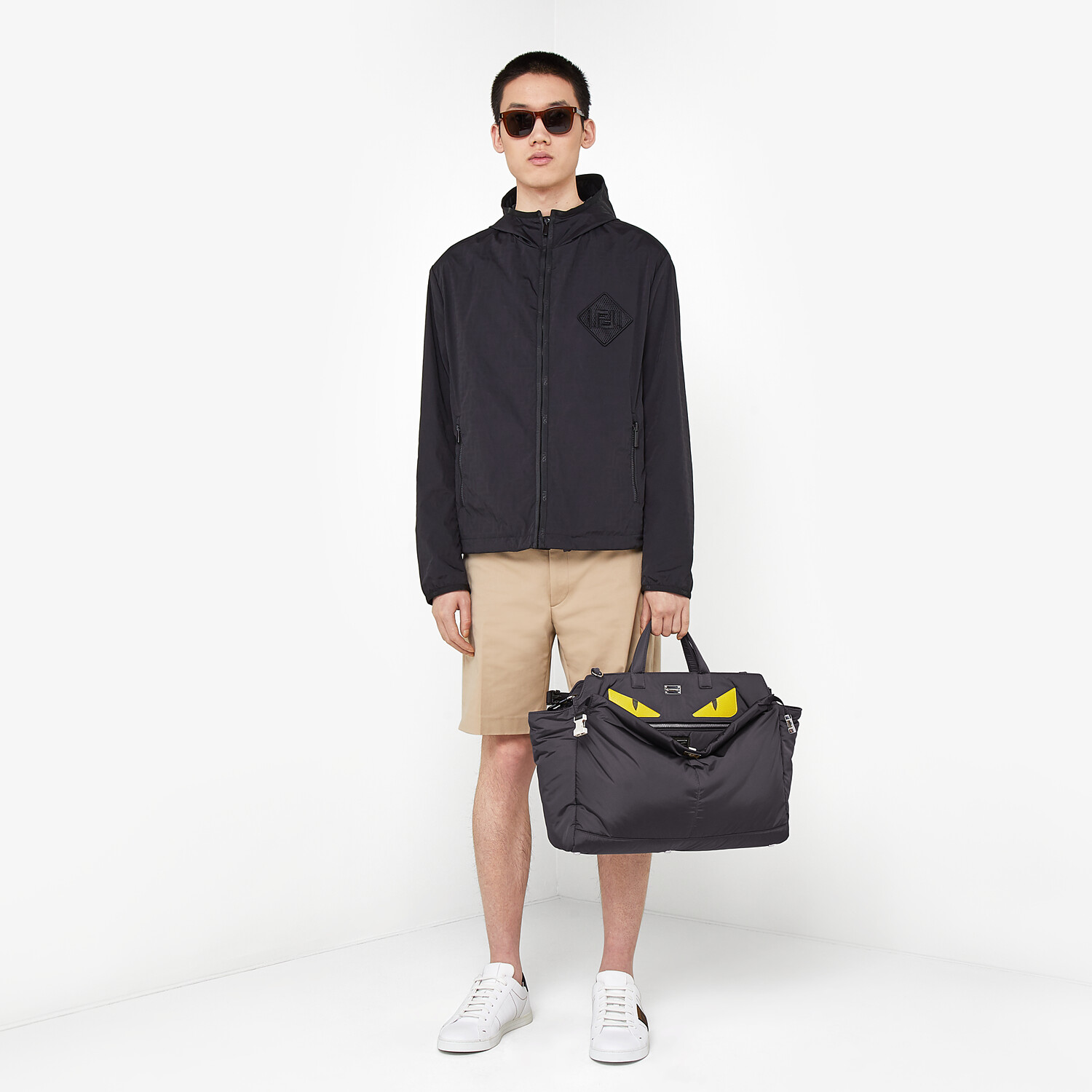 FENDI WINDBREAKER - Windbreaker in black tech fabric - view 6 detail