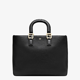 FENDI FF TOTE MEDIUM - Black leather bag - view 1 thumbnail