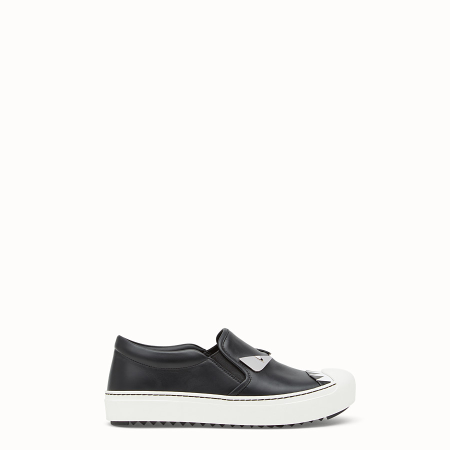 FENDI SNEAKER - Black leather slip-ons - view 1 detail