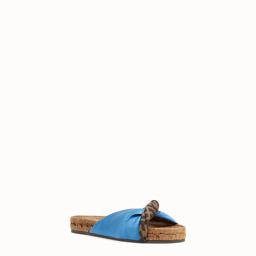 FENDI SANDALS - Blue satin slides - view 2 detail