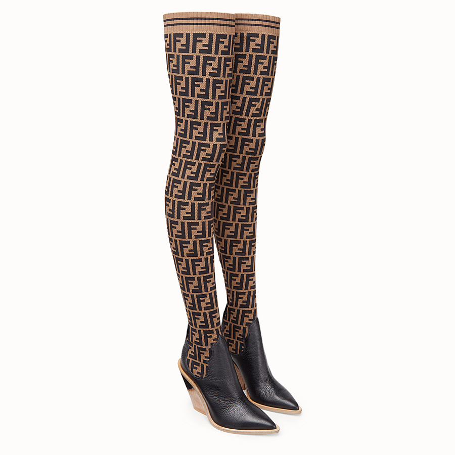 FENDI BOOTS - Stocking and black leather thigh-high boots - view 4 detail