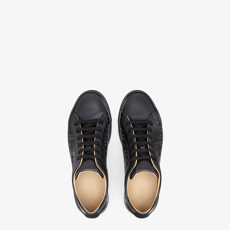 FENDI SNEAKERS - Black leather low-tops - view 4 detail