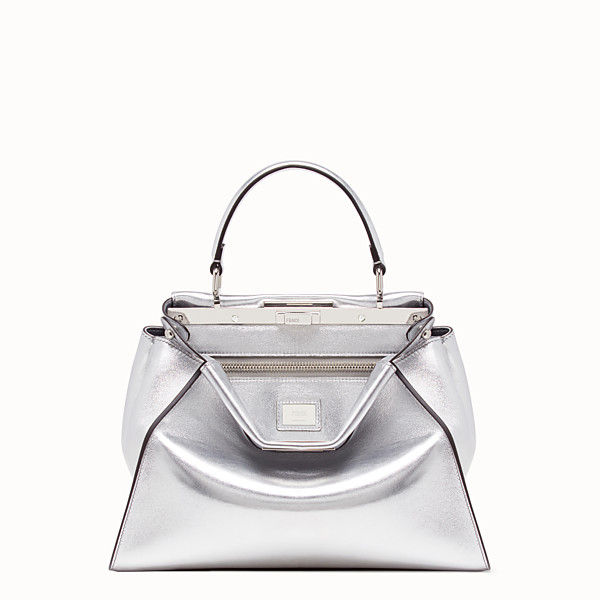 FENDI PEEKABOO ICONIC MEDIUM - Borsa in pelle argento - vista 1 thumbnail piccola