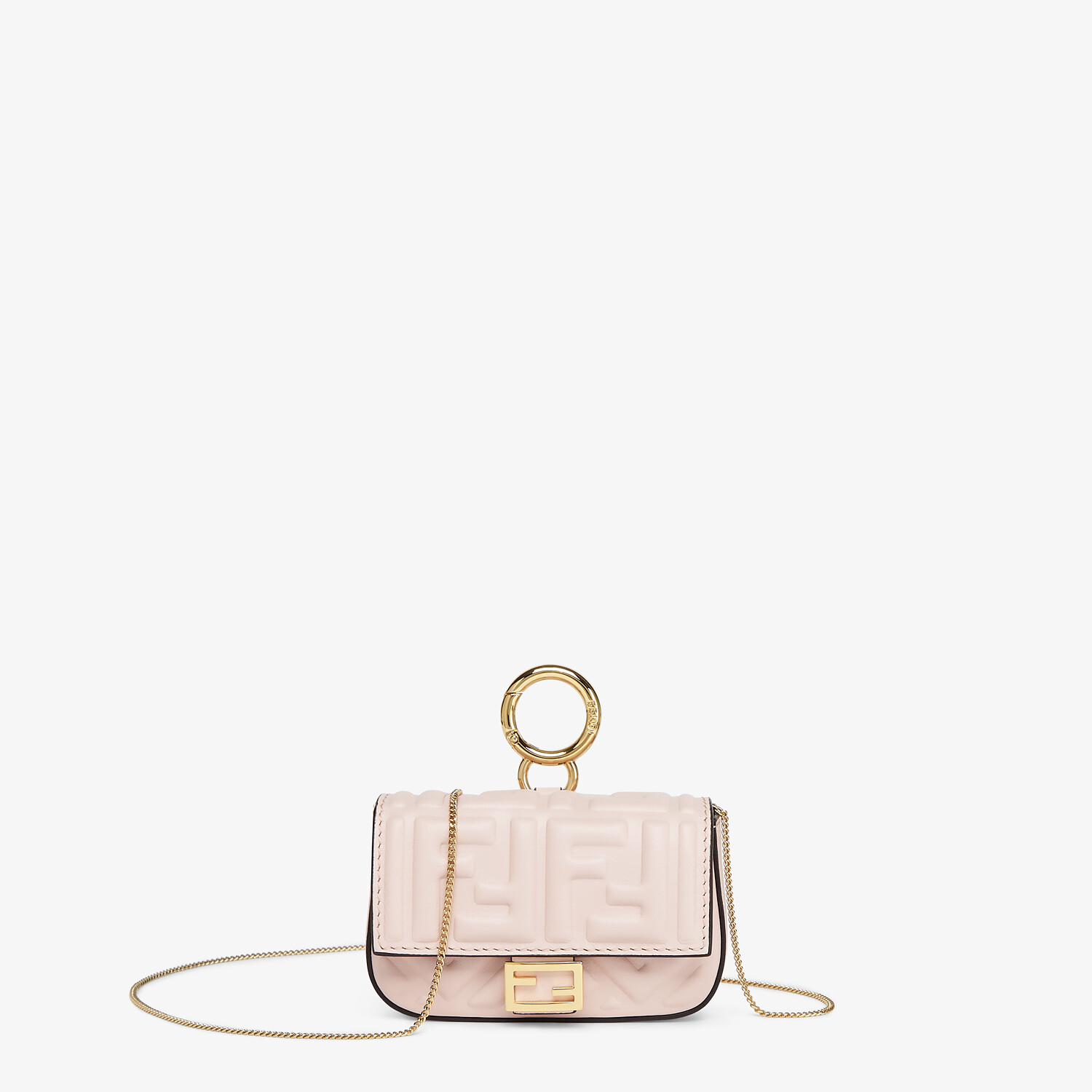 FENDI NANO BAGUETTE CHARM - Charm in pink nappa leather - view 1 detail