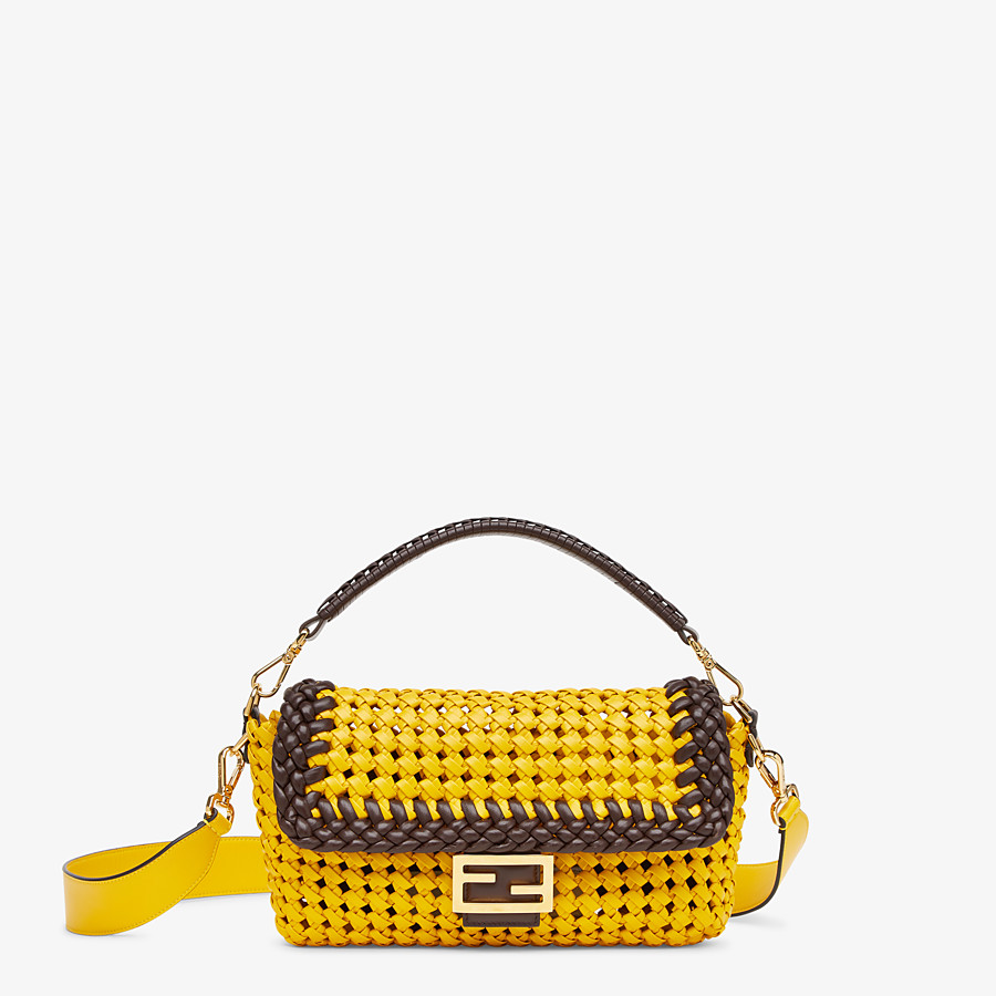 FENDI BAGUETTE - Yellow leather interlace bag - view 1 detail