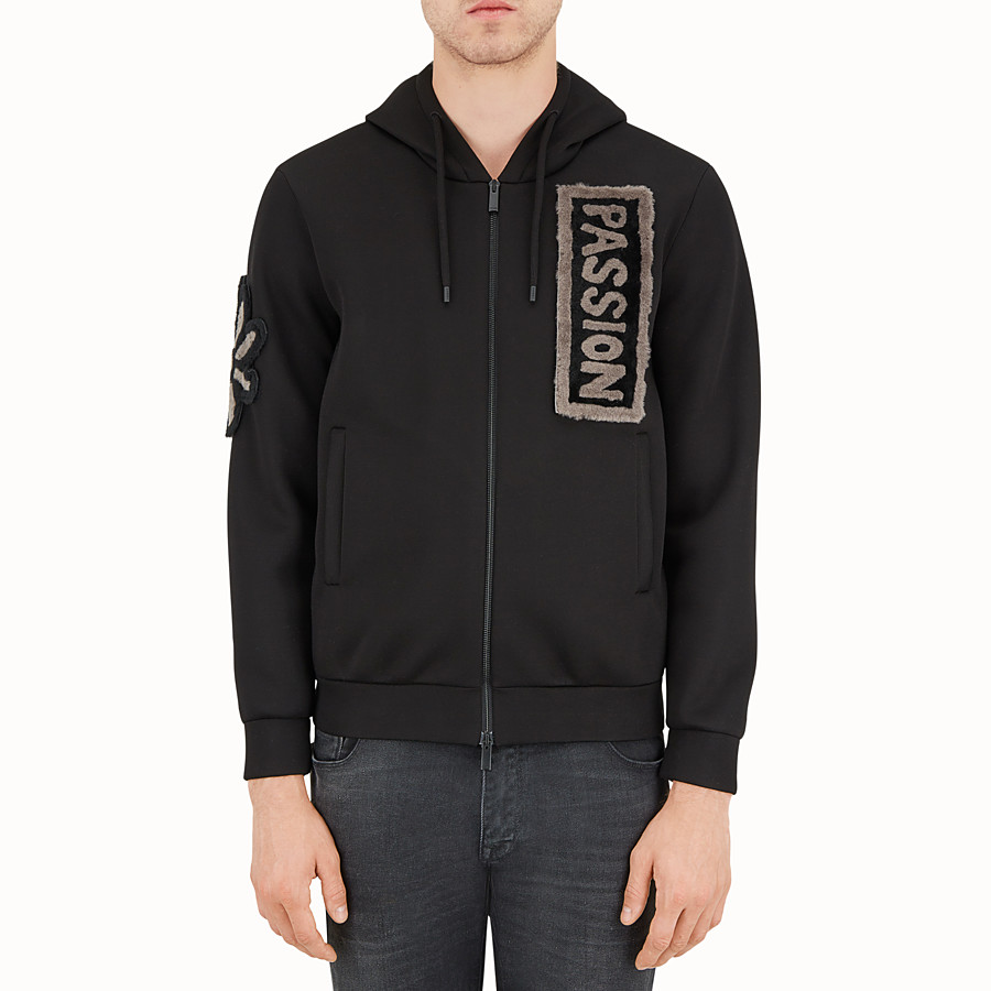 FENDI BLOUSON - Hoodie in black neoprene. - view 1 detail