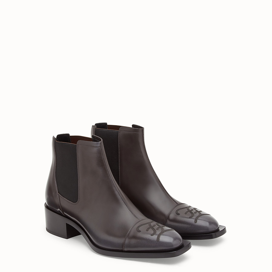 FENDI ANKLE BOOTS - Grey leather ankle boots - view 4 detail