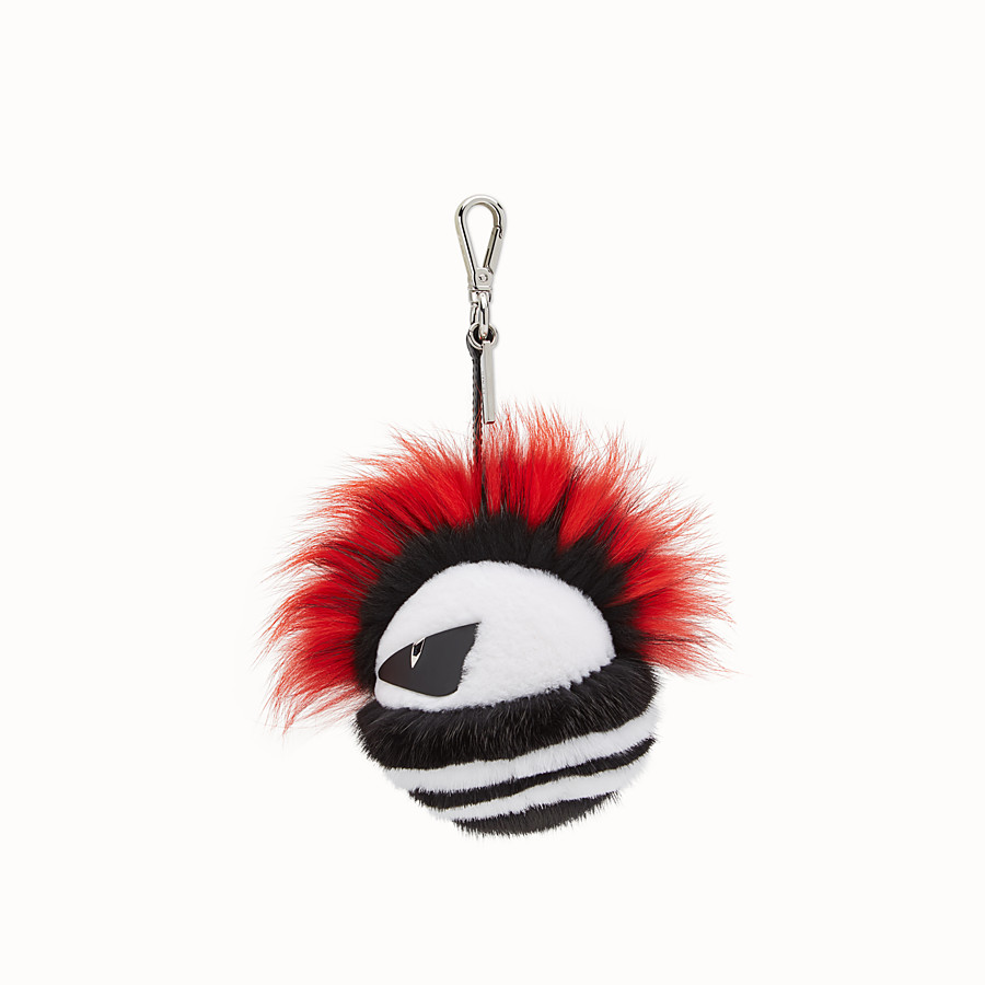 FENDI BAG BUG CHARM - Orange and multicolour fur charm - view 1 detail