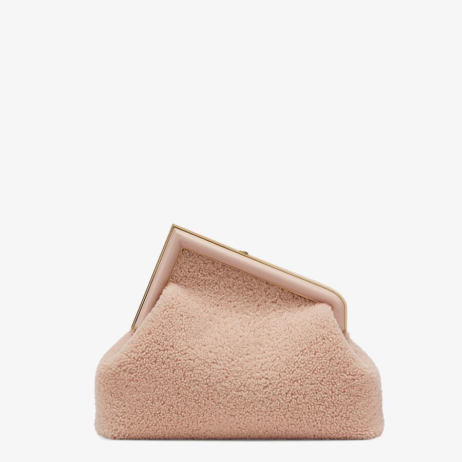 FENDI FENDI FIRST MEDIUM - Pink sheepskin bag - view 4 detail