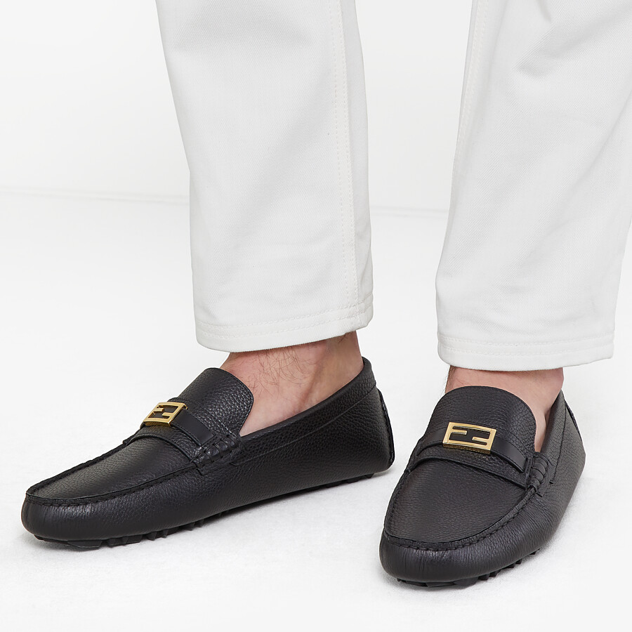 FENDI LOAFERS - Black leather drivers - view 5 detail