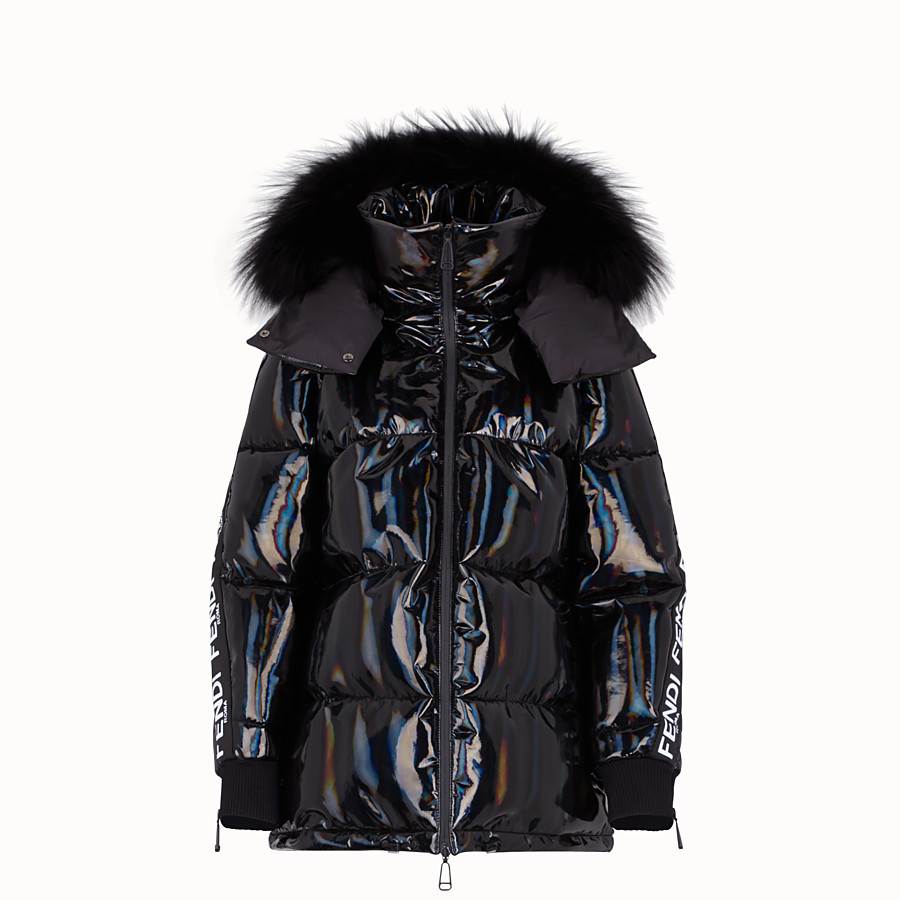 FENDI DOWN JACKET - Black nylon down jacket - view 1 detail