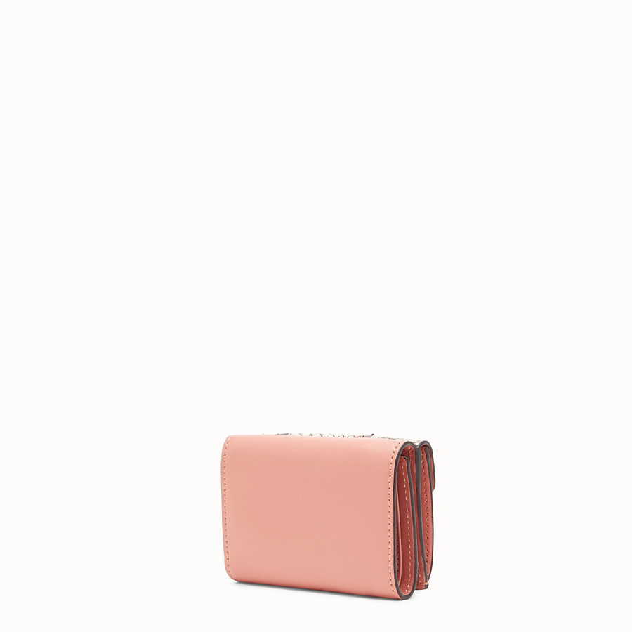 FENDI MICRO TRIFOLD - Pink leather wallet with exotic details - view 2 detail