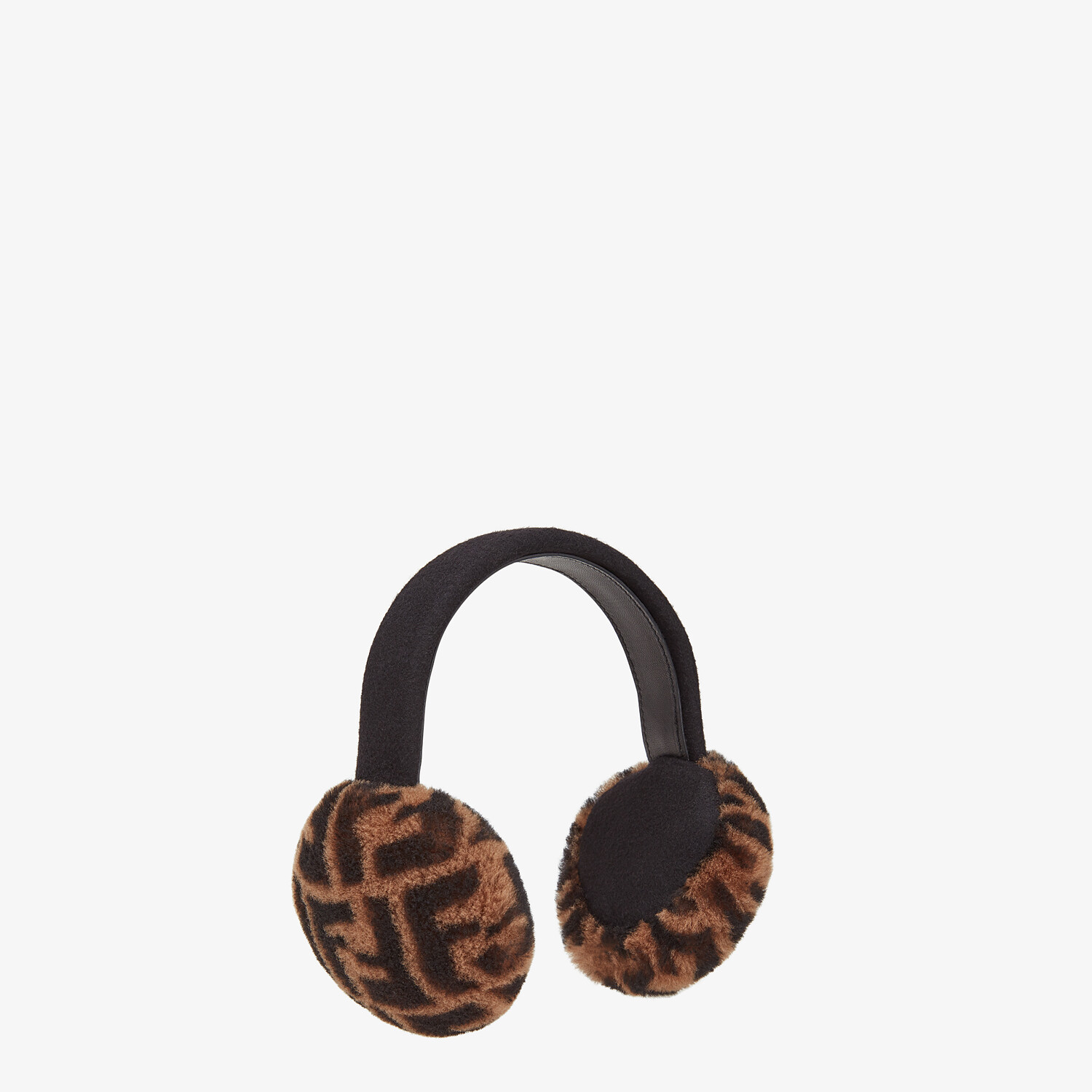FENDI EARMUFFS - Brown shearling earmuffs - view 2 detail