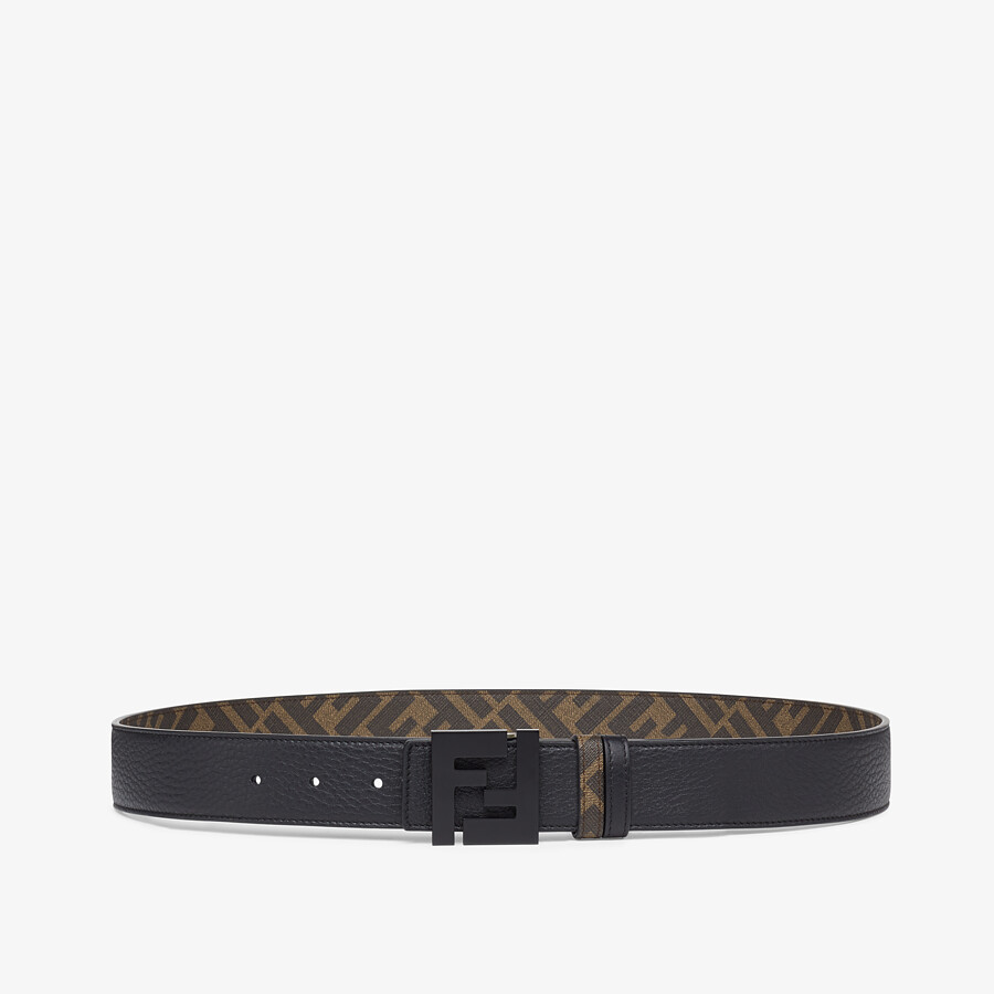 FENDI BELT - Brown leather and fabric belt - view 1 detail