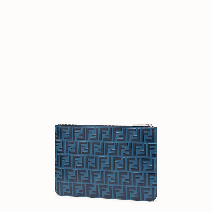 FENDI POUCH - Blue leather pochette - view 2 detail