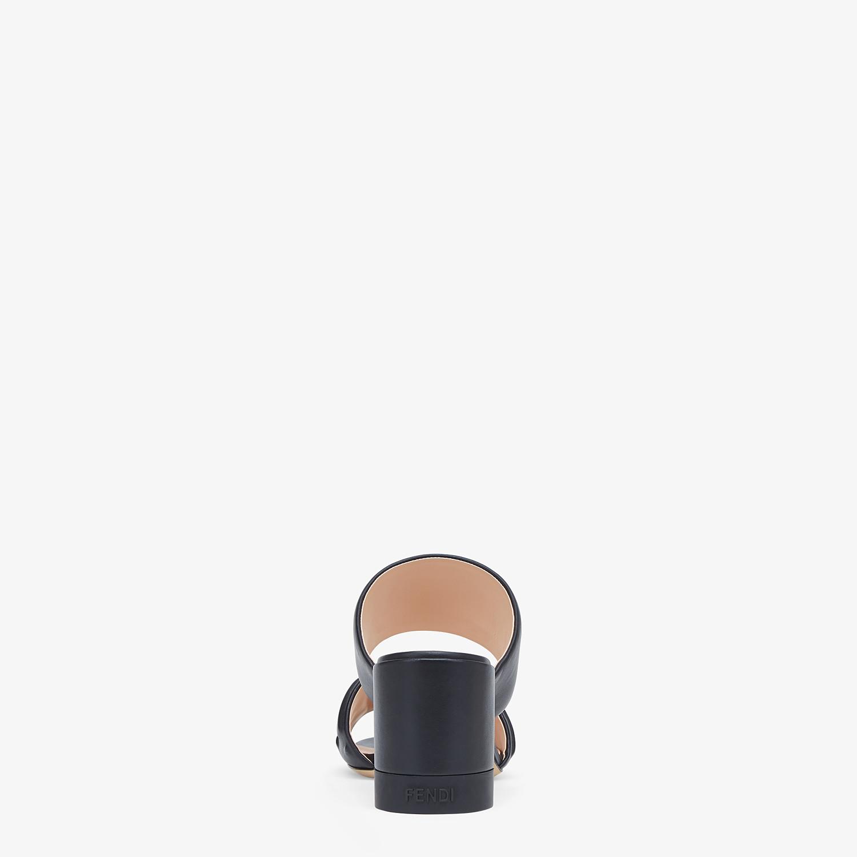FENDI SLIDES - Black leather slides - view 3 detail