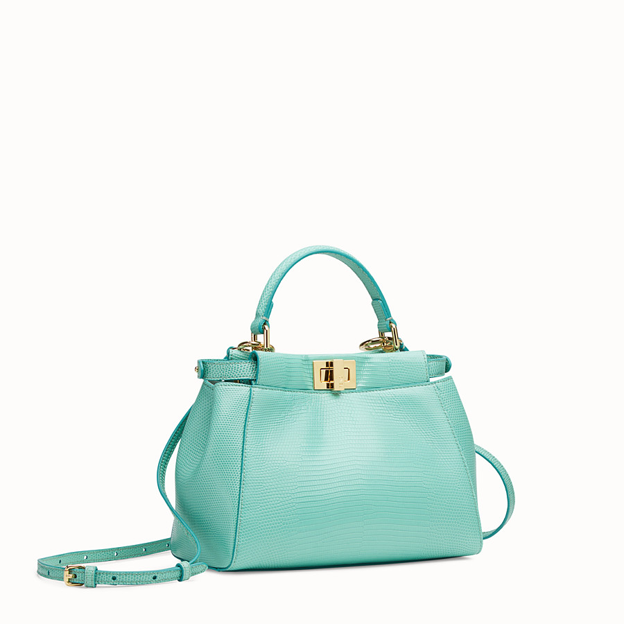 FENDI PEEKABOO ICONIC MINI - Green lizard leather bag - view 2 detail