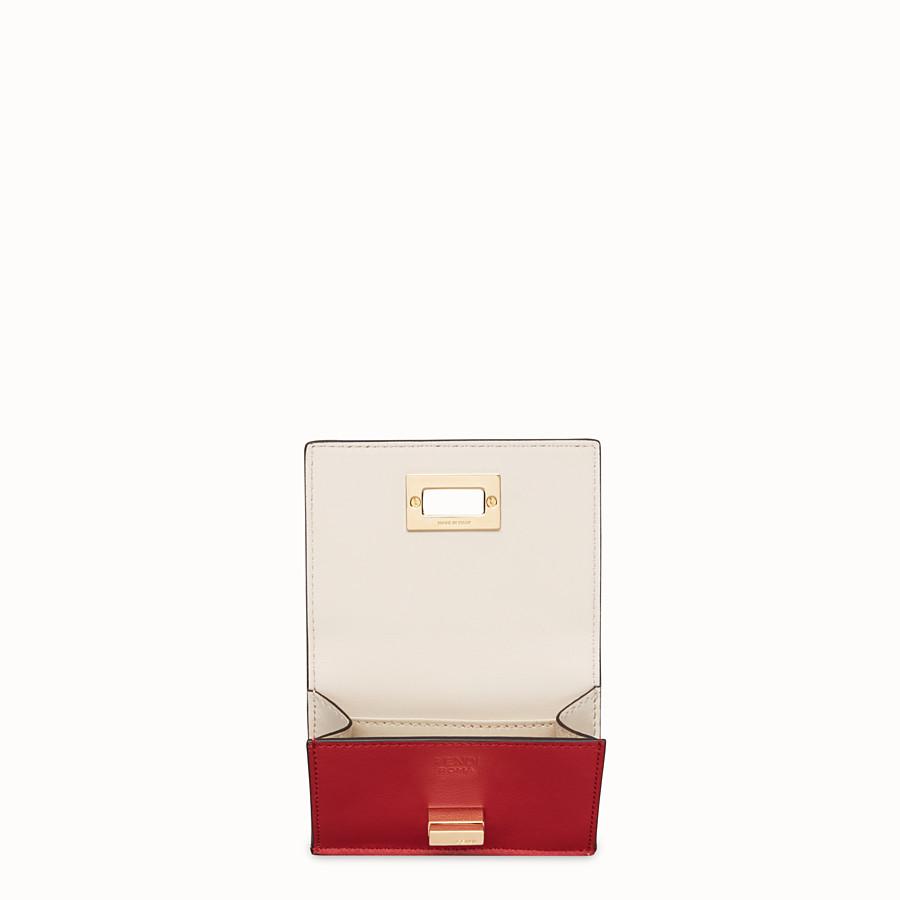 FENDI MICRO TRIFOLD - Portemonnaie aus Leder in Rot - view 3 detail