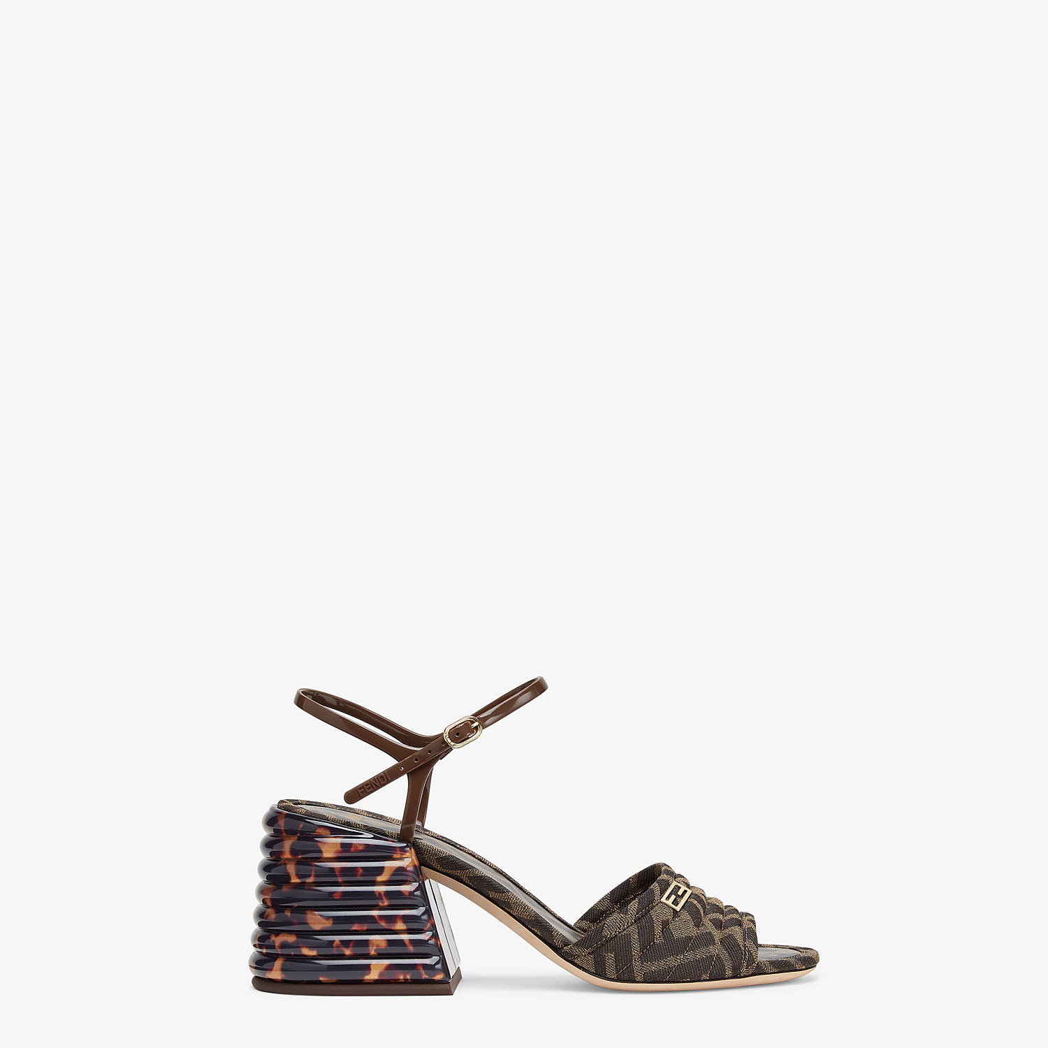 FENDI SANDALS - Brown fabric Promenades - view 1 detail