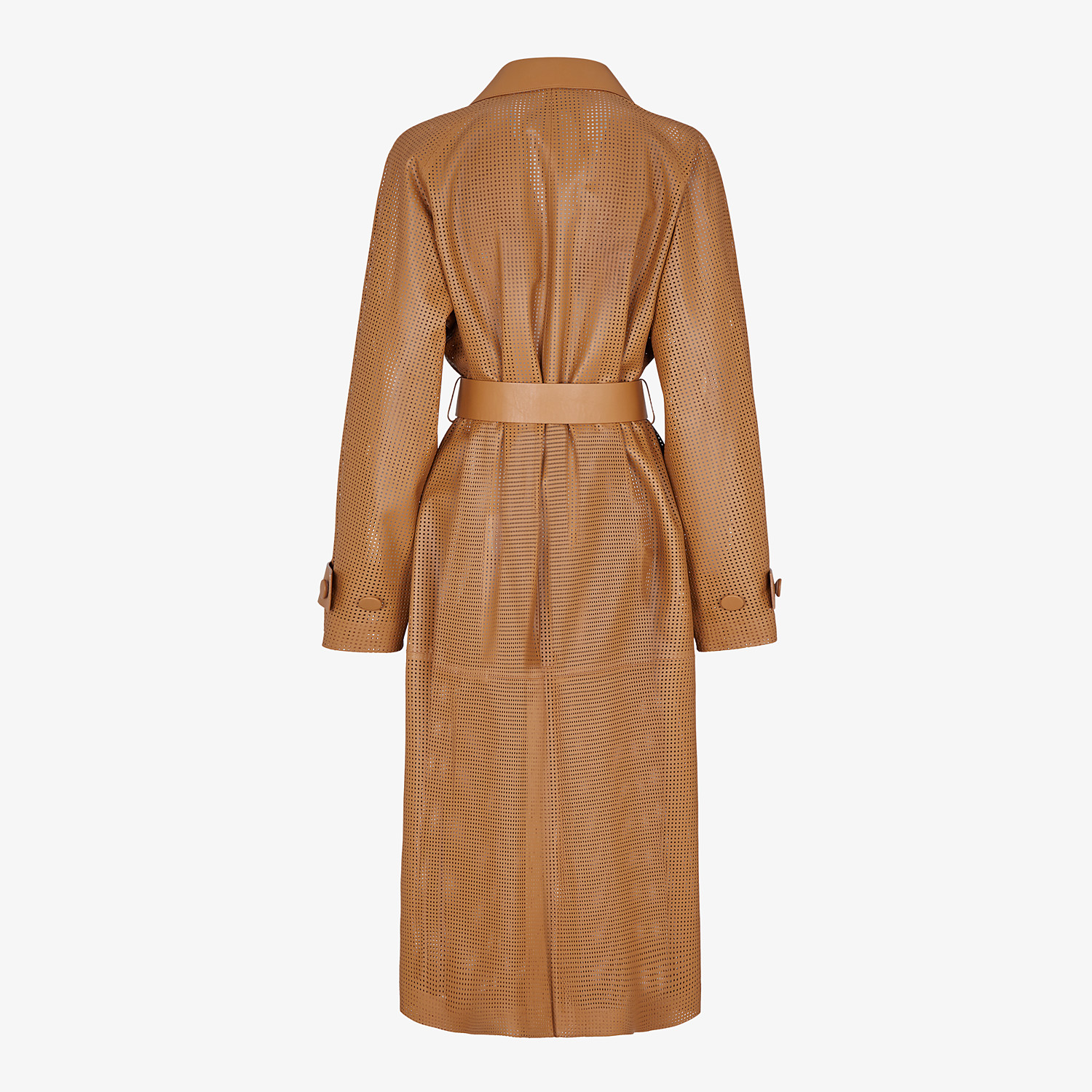 FENDI OVERCOAT - Brown leather trench coat - view 2 detail