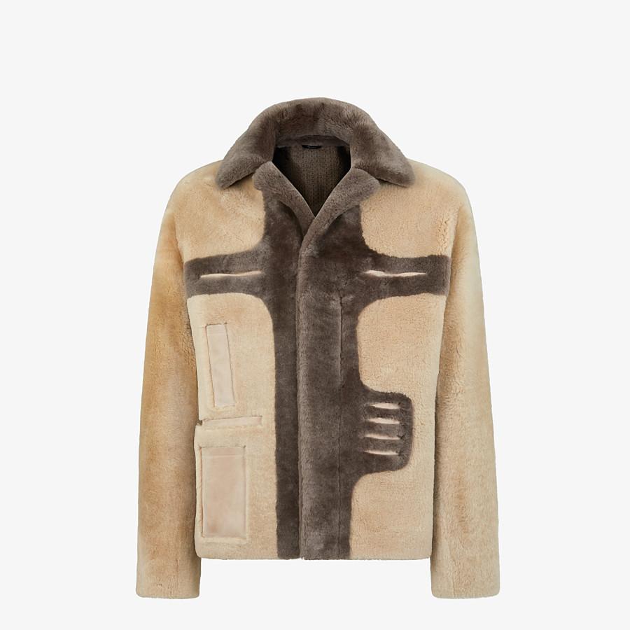 FENDI BLOUSON JACKET - Beige shearling jacket - view 1 detail
