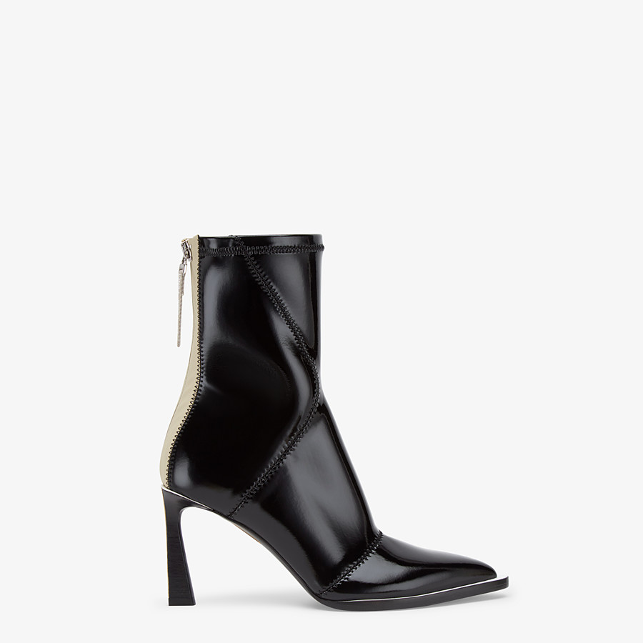 FENDI ANKLE BOOTS - Glossy black neoprene ankle boots - view 1 detail