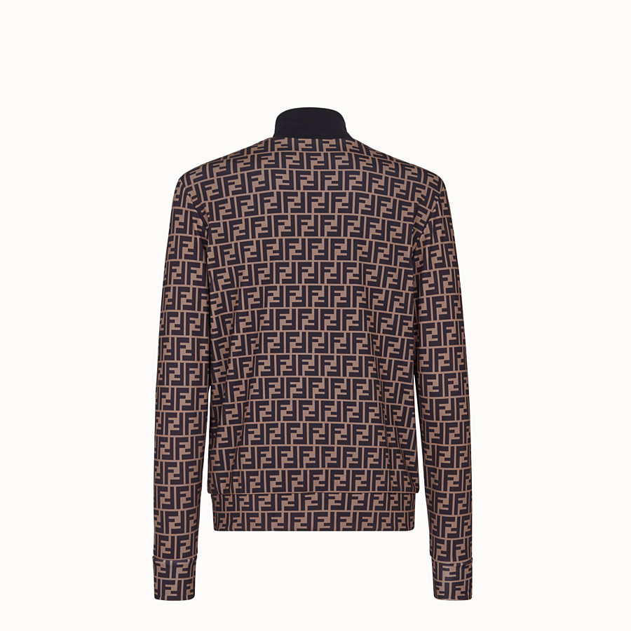 FENDI TECH FABRIC SWEATER - Brown fleece sweater - view 2 detail