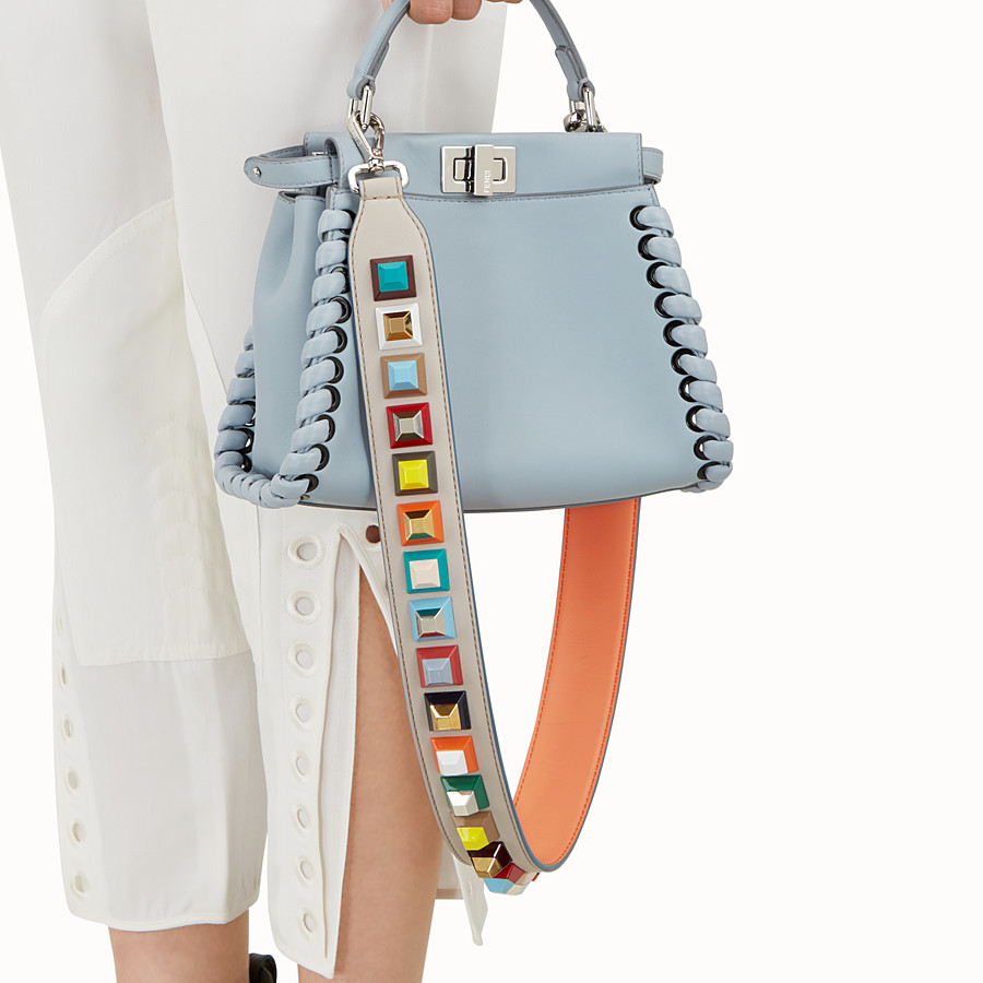 FENDI STRAP YOU - Shoulder strap in grey leather with studs - view 2 detail