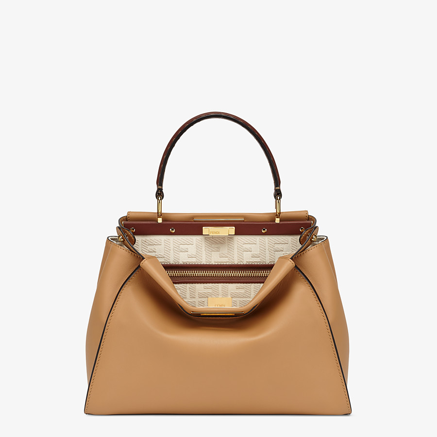 FENDI PEEKABOO ICONIC MEDIUM - Beige leather and FF embroidery bag - view 1 detail