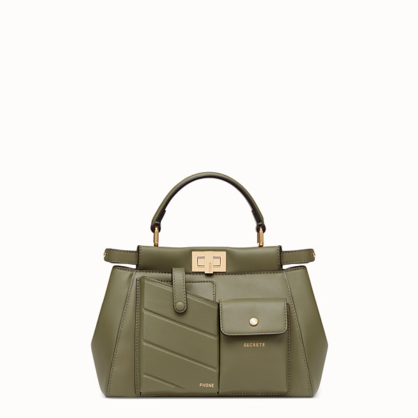 FENDI PEEKABOO MINI POCKET - Borsa in pelle verde - vista 1 thumbnail piccola