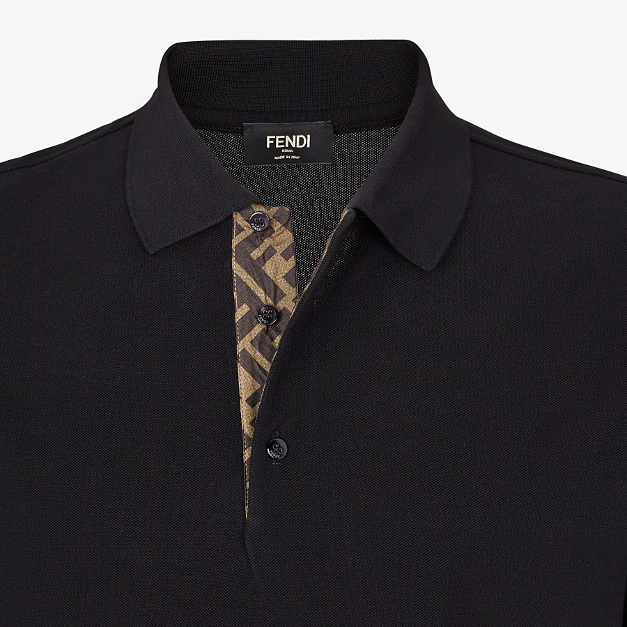 FENDI POLO SHIRT - Black piqué polo shirt - view 3 detail