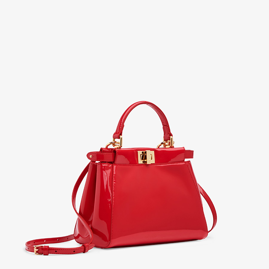 FENDI PEEKABOO ICONIC MINI - Tasche aus Lackleder in Rot - view 3 detail