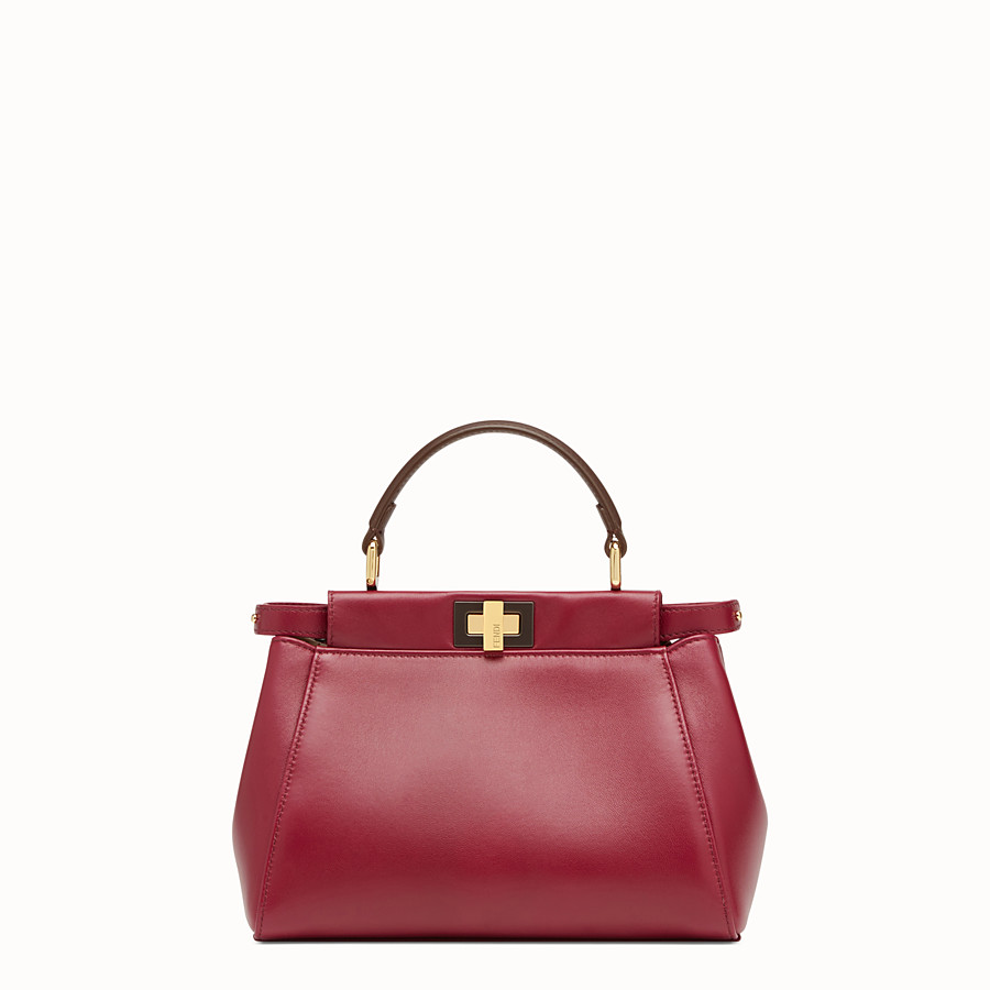 FENDI PEEKABOO MINI - Red leather bag - view 1 detail