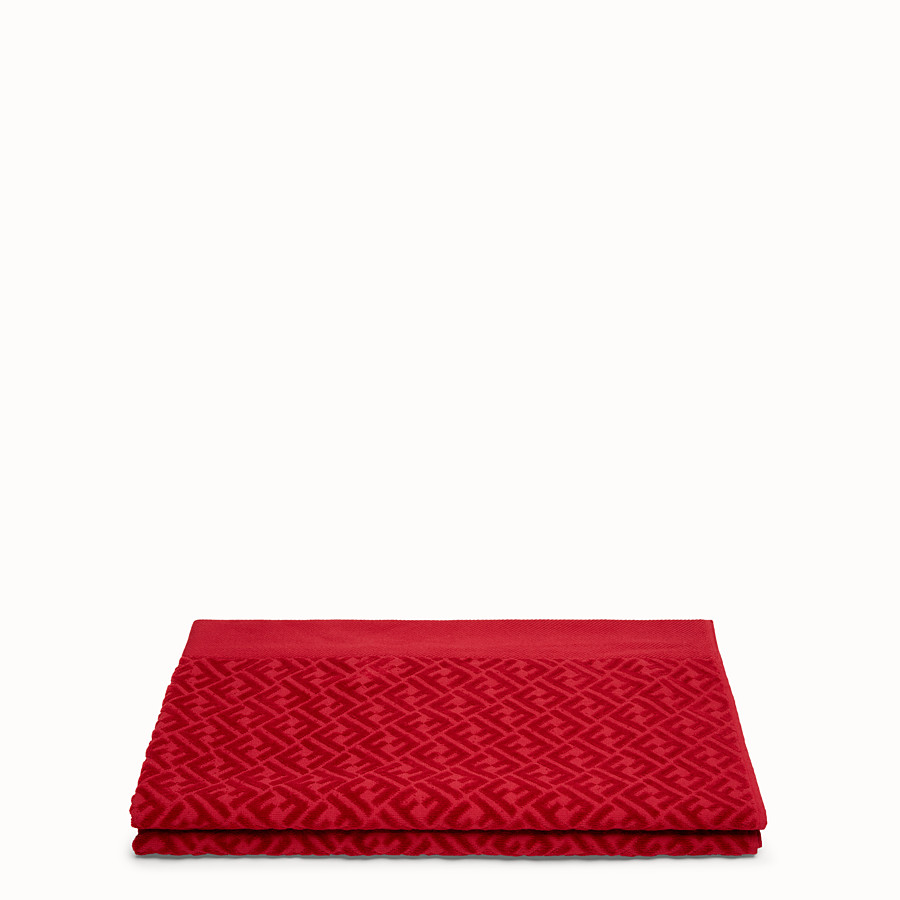 FENDI BEACH TOWEL - Red cotton beach towel - view 2 detail