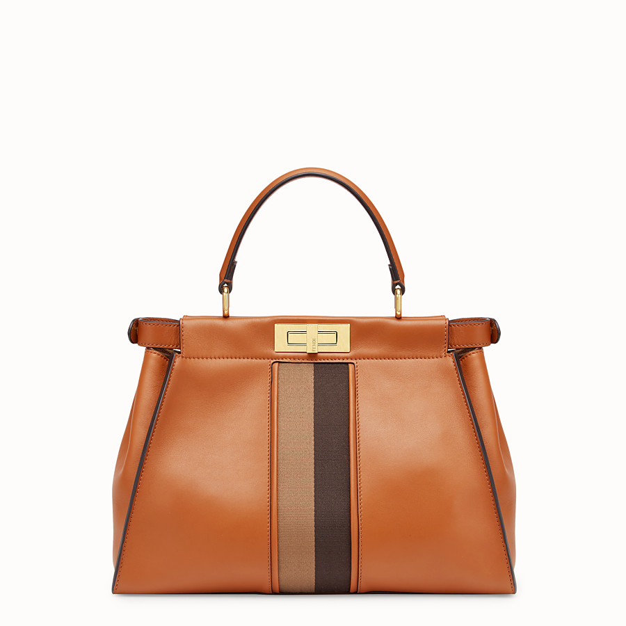 FENDI PEEKABOO ICONIC MEDIUM - Borsa in pelle marrone - vista 3 dettaglio