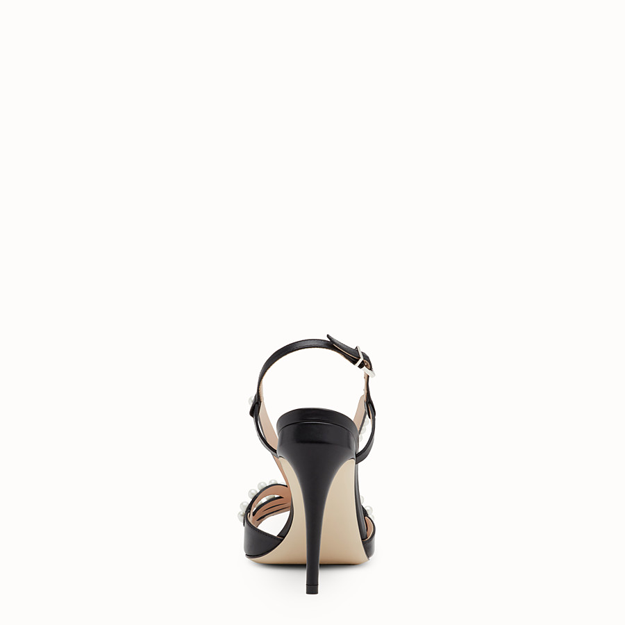 FENDI SANDALS - Black leather sandals - view 3 detail
