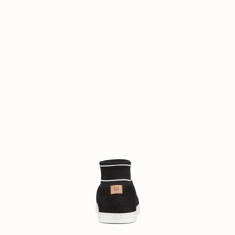 FENDI SNEAKERS - Black knit slip-ons - view 3 detail