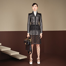 FENDI JACKET - Black micromesh jacket - view 4 thumbnail