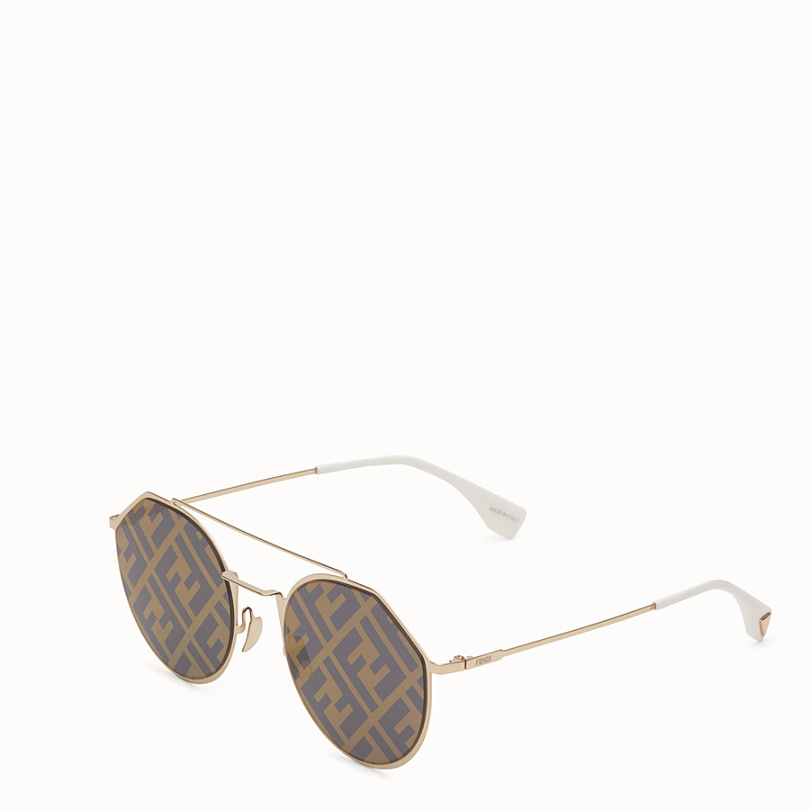 FENDI EYELINE - Gold-coloured sunglasses - view 2 detail