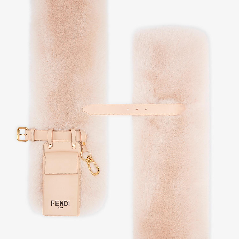 FENDI MAXI STOLE - Pink fox fur stole - view 2 detail