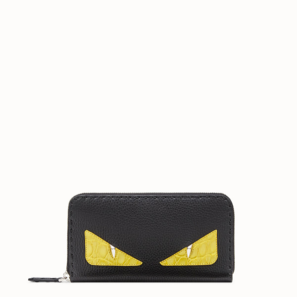 FENDI ZIP-AROUND - Black Roman leather wallet with exotic leather details - view 1 small thumbnail