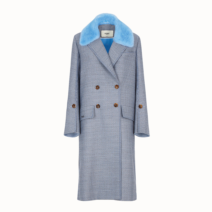 FENDI COAT - Blue wool and silk coat - view 1 detail