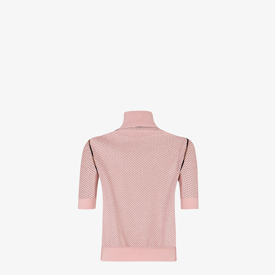 FENDI SWEATER - Pink mesh sweater - view 2 detail