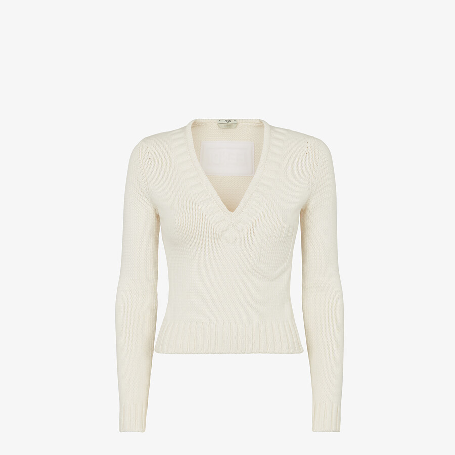 FENDI SWEATER - White cotton sweater - view 1 detail