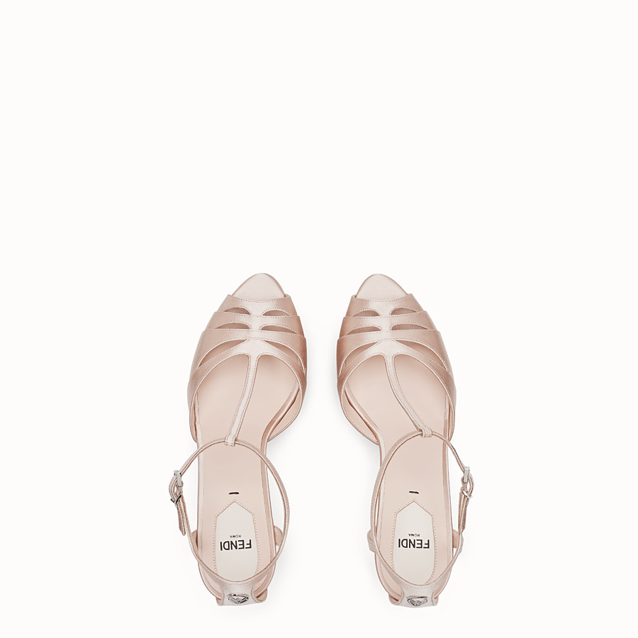 FENDI SANDALS - Pink satin high sandals - view 4 detail