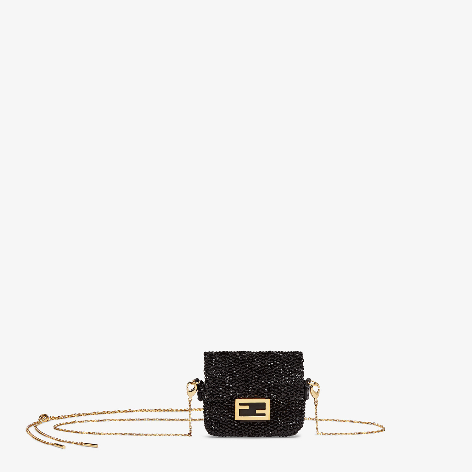 FENDI PICO BAGUETTE CHARM - Charm with black crystals - view 1 detail